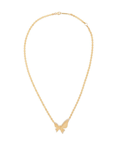14k Large Diamond Butterfly Pendant Necklace