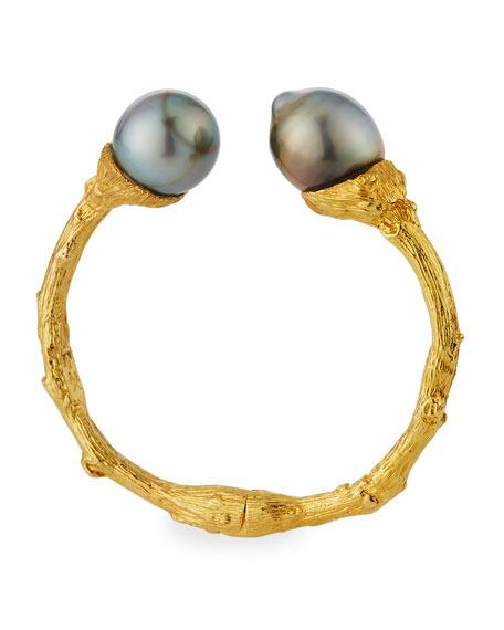 K Brunini 18k Twig Cuff w/ Tahitian Pearls