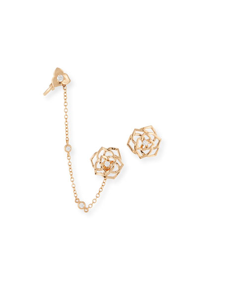 PIAGET 18k Gold Diamond Rose Ear Climber