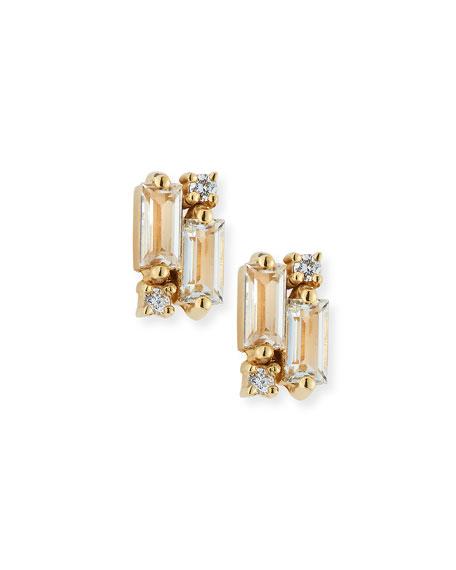 KALAN by Suzanne Kalan 14k White Topaz & Diamond Baguette Mini Fireworks Stud Earrings