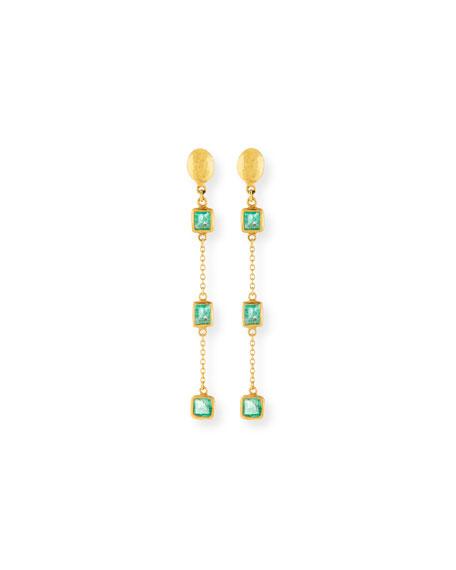 Gurhan 22k Linear Triple Emerald Drop Earrings
