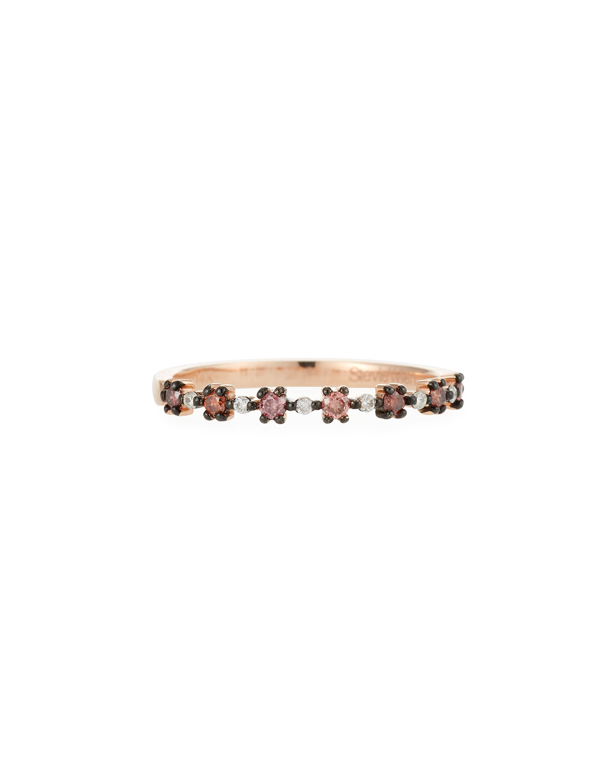 Stevie Wren Flowerette Stacking Ring in 14k Rose Gold with Pink Diamonds, Size 7