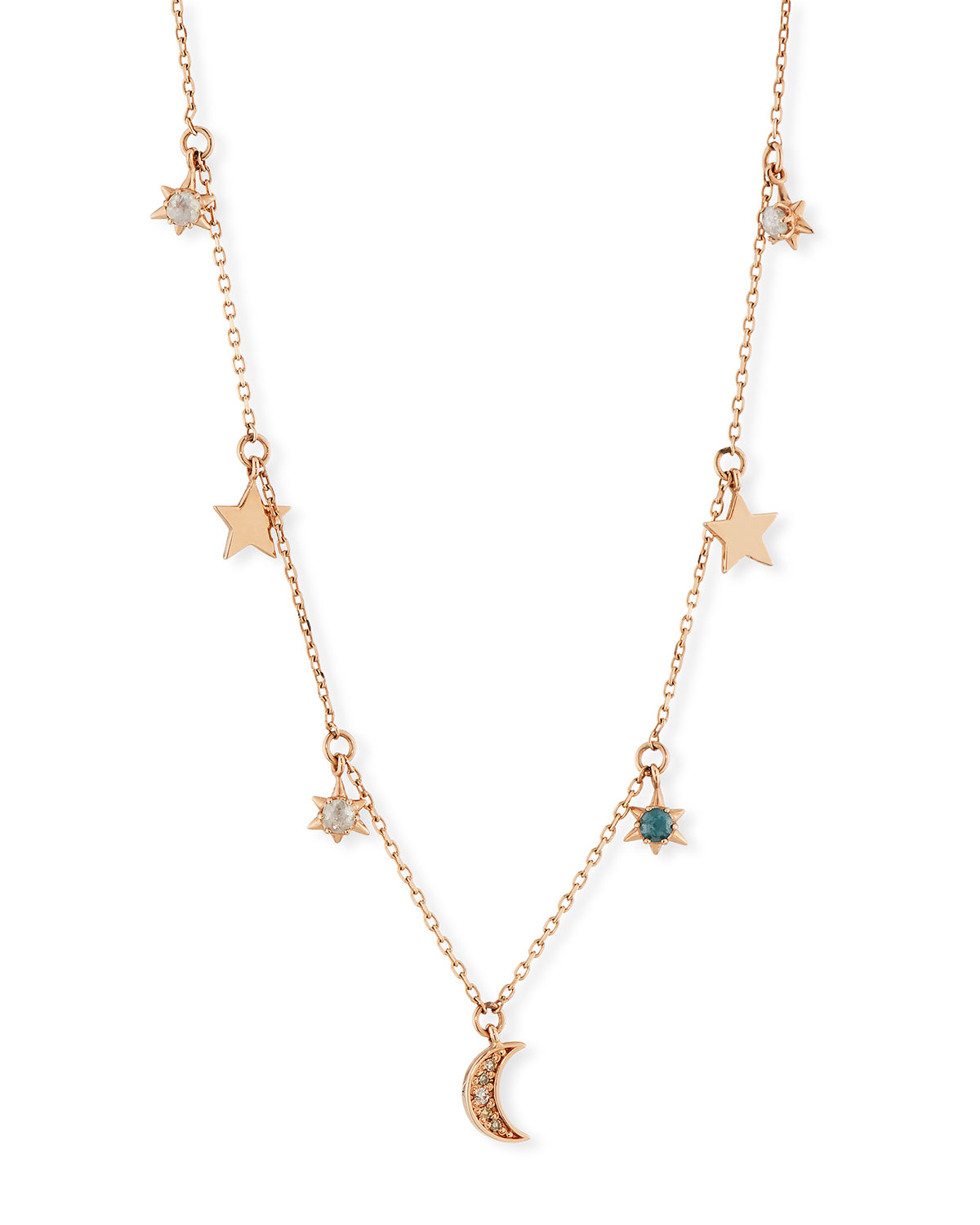 Stevie Wren 14k Celestial Diamond Charm Necklace