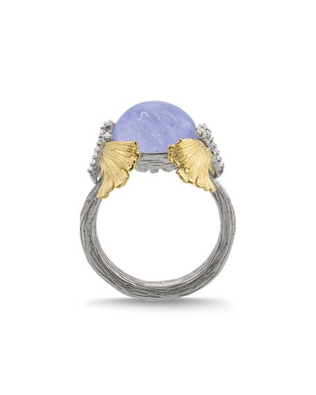 Michael Aram Butterfly Ginkgo Dome Ring w/ Chalcedony