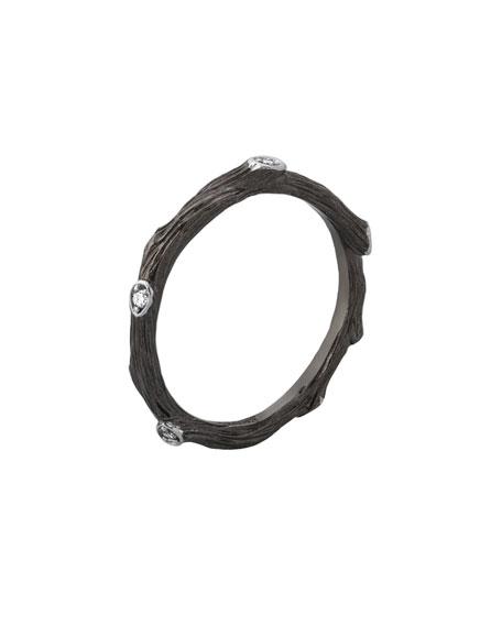 Michael Aram Enchanted Forest Black-Finish Band Ring w/ Diamonds