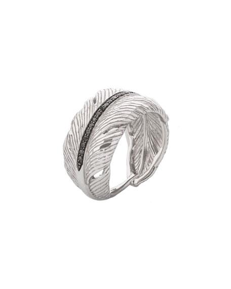 Michael Aram Silver Feather Diamond Cuff Ring