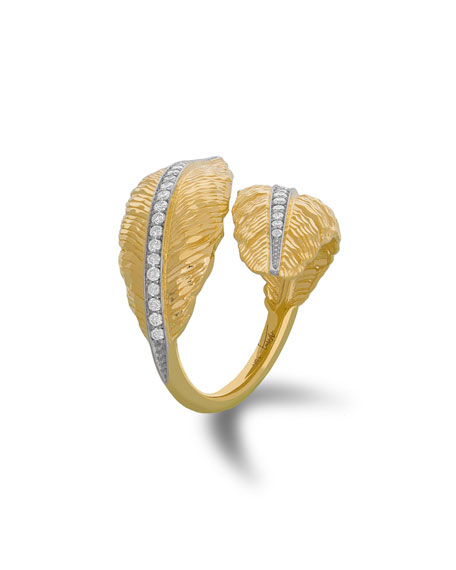 Michael Aram 18k Feather Bypass Ring w/ Diamonds