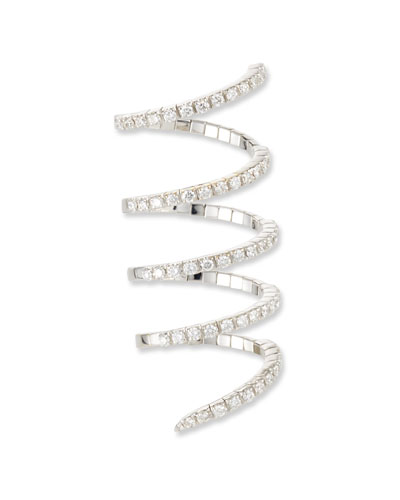 Magic Snake 18k White Gold 5-Row Diamond Flex Ring, Size 6.5