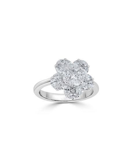 ZYDO 18k Mosaic Flower Diamond Ring, Size 7