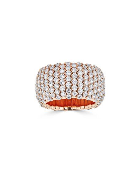 ZYDO 18k Rose Gold Wide Diamond Stretch Ring, Size 7.25
