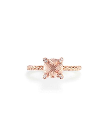 David Yurman Châtelaine Rose Gold  Ring with Morganite & Diamonds, Size 6