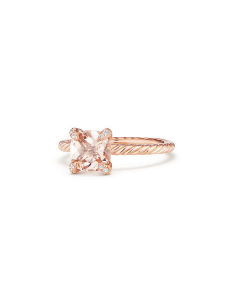 David Yurman Châtelaine Rose Gold  Ring with Morganite & Diamonds, Size 8