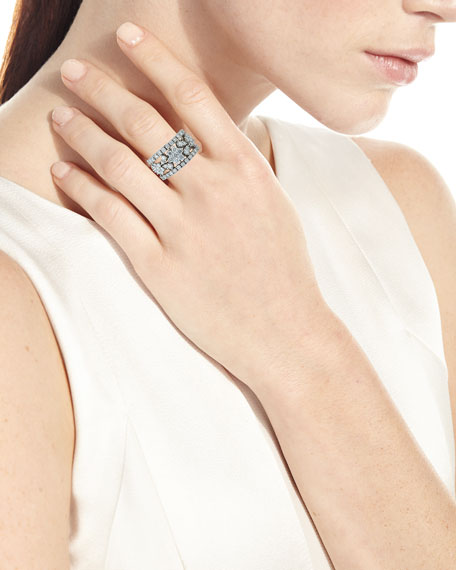ZYDO 18k White Gold Diamond Flower Band Ring, Size7