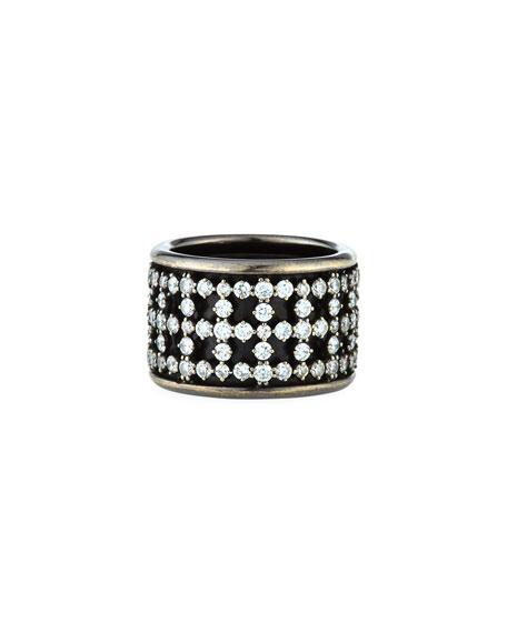 ZYDO 18k White Gold Diamond Band Ring w/ Black Rhodium, Size 6.25