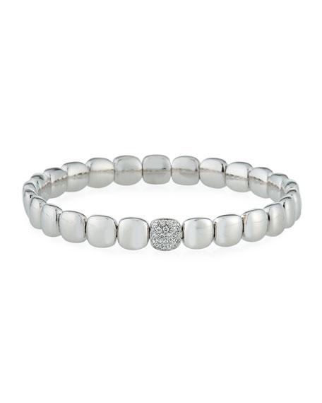 ZYDO 18k White Gold Stretch Bracelet w/ Diamond Station