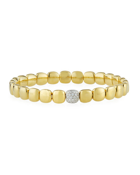 ZYDO 18k Yellow Gold Stretch Bracelet w/ Diamond Station