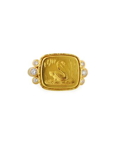 19k Gold Swan Signet Ring  Size 6.5