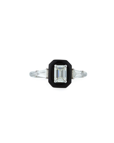 Oui 18k White Gold Diamond & Black Enamel Solitaire Ring  Size 6.5