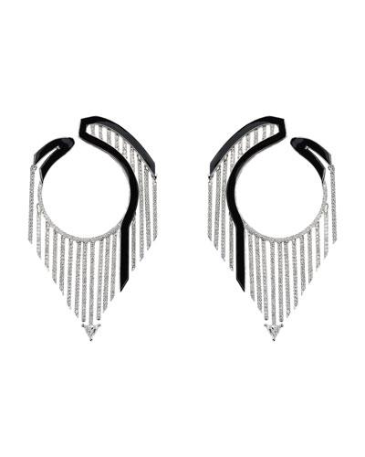 Oui 18k White Gold Drop Earrings w/ Diamonds & Black Enamel