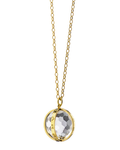 "Monica Rich Kosann Extra Large 18k Gold Carpe Diem Pendant Necklace, 30""L"