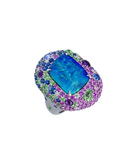 Margot McKinney Jewelry 18k White Gold Opal & Multi-Stone Ring, Size 6.5