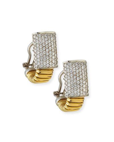 18k Tubogas Small Diamond Huggie Hoop Earrings