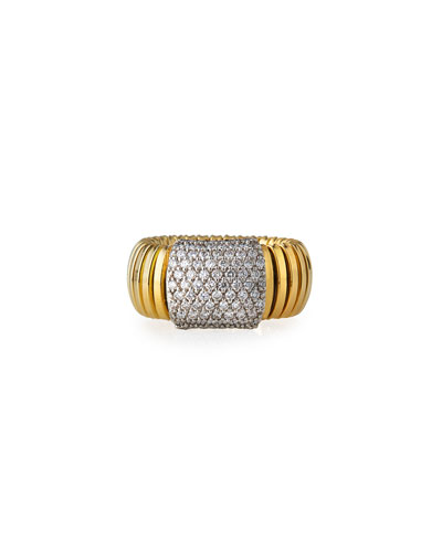 18k Tubogas Small Diamond Band Ring, Size 8
