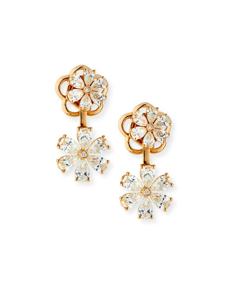 ZYDO 18k Rose Gold Boccole Drop Earrings w/ Diamonds