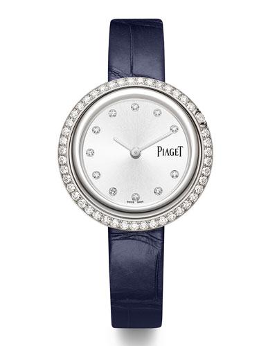 Possession 18k White Gold Diamond Watch w/ Alligator Strap