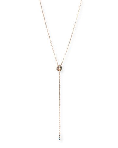 14k Rose Gold Rainbow Diamond Lariat Necklace