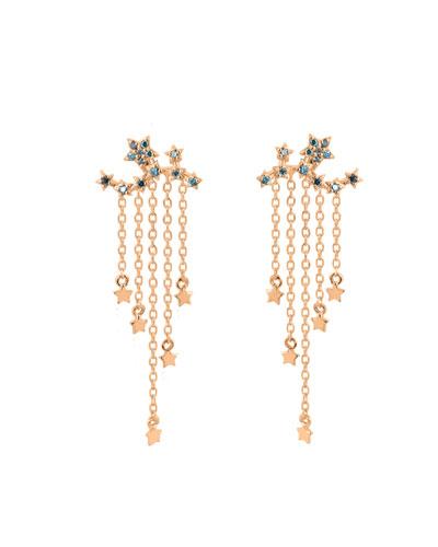 14k Rose Gold Star Ear Climber Earrings