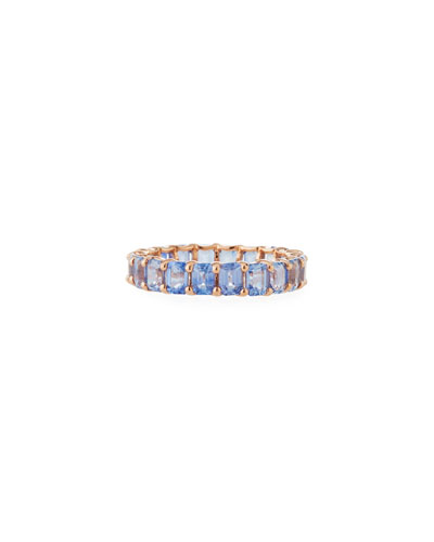 14k Rose Gold Blue Sapphire Eternity Band Ring, Size 7