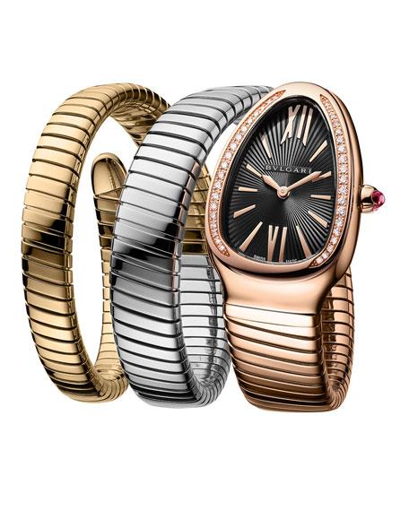 BVLGARI 35mm Serpenti Tubogas Diamond Coil Watch, Tricolor