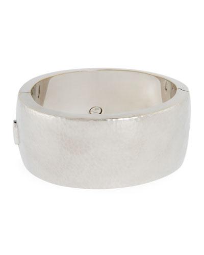18k White Gold Wide Hammered Design Bracelet