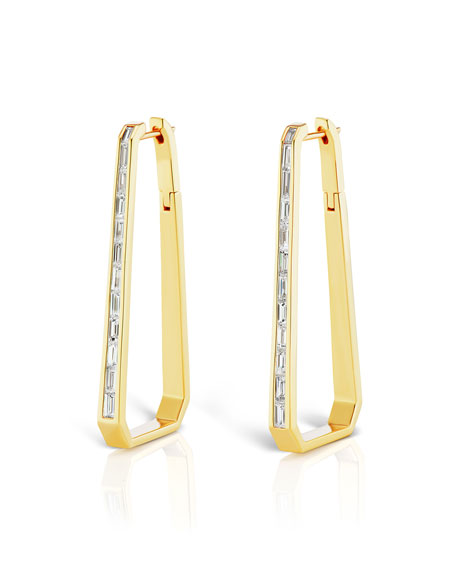 Maria Canale 18k Gold Diamond Trapezoid Hoop Earrings