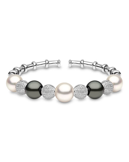Yoko London 18k White Gold South Sea & Tahitian Pearl Bracelet w/ Diamonds