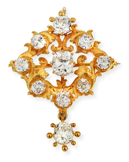 NM Estate 18k Gold Baroque Leaf Diamond Pendant