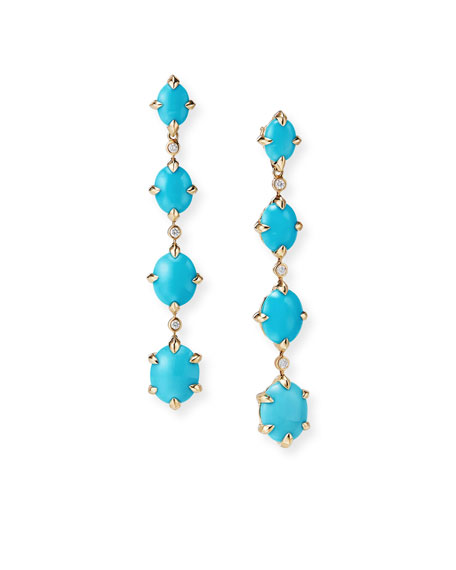 David Yurman 18k Gold Chatelaine Turquoise & Diamond Drop Earrings