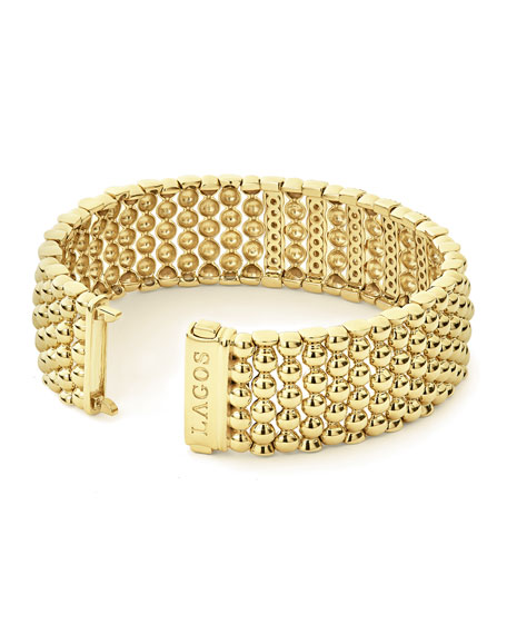 Image 2 of 5: Lagos 18k Caviar Gold Wide Rope Bracelet w/ Five Diamond Plates, Size M