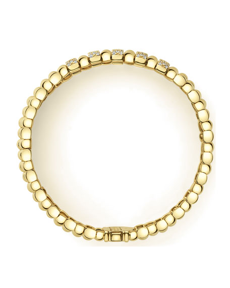 Image 3 of 5: Lagos 18k Caviar Gold Wide Rope Bracelet w/ Five Diamond Plates, Size M