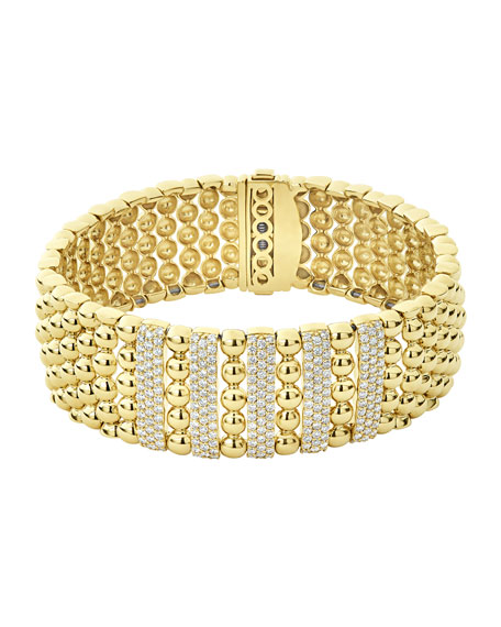 Image 1 of 5: Lagos 18k Caviar Gold Wide Rope Bracelet w/ Five Diamond Plates, Size M