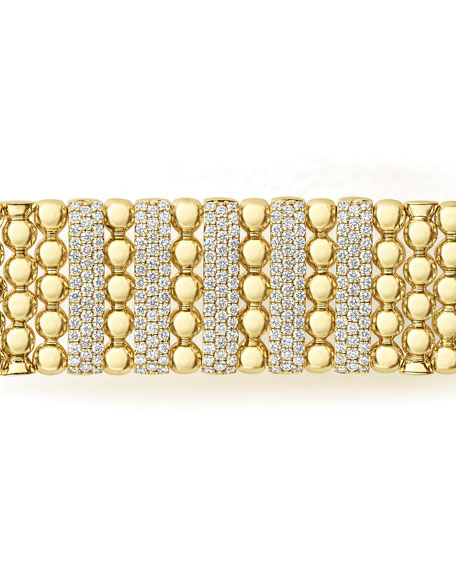 Image 5 of 5: Lagos 18k Caviar Gold Wide Rope Bracelet w/ Five Diamond Plates, Size M