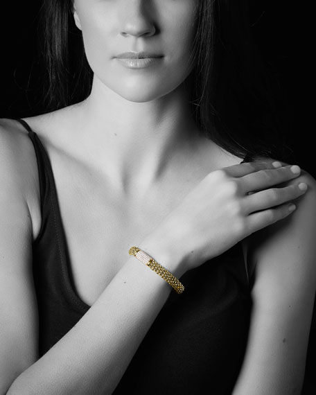 LAGOS 18k Caviar Gold Rope Bracelet w/ 17mm Diamond Plate