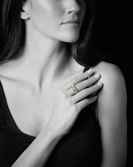 LAGOS 18k Caviar Gold Wrap Ring w/ Diamonds, Size 7