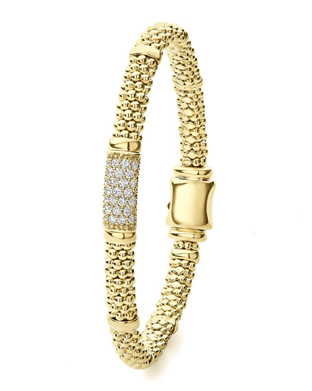 Image 2 of 5: Lagos 18k Caviar Gold 15mm Rope Bracelet w/ Diamonds