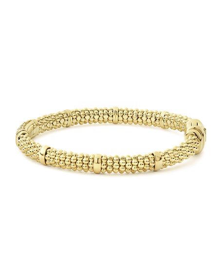 Image 3 of 5: Lagos 18k Caviar Gold 15mm Rope Bracelet w/ Diamonds