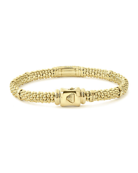 Image 4 of 5: Lagos 18k Caviar Gold 15mm Rope Bracelet w/ Diamonds
