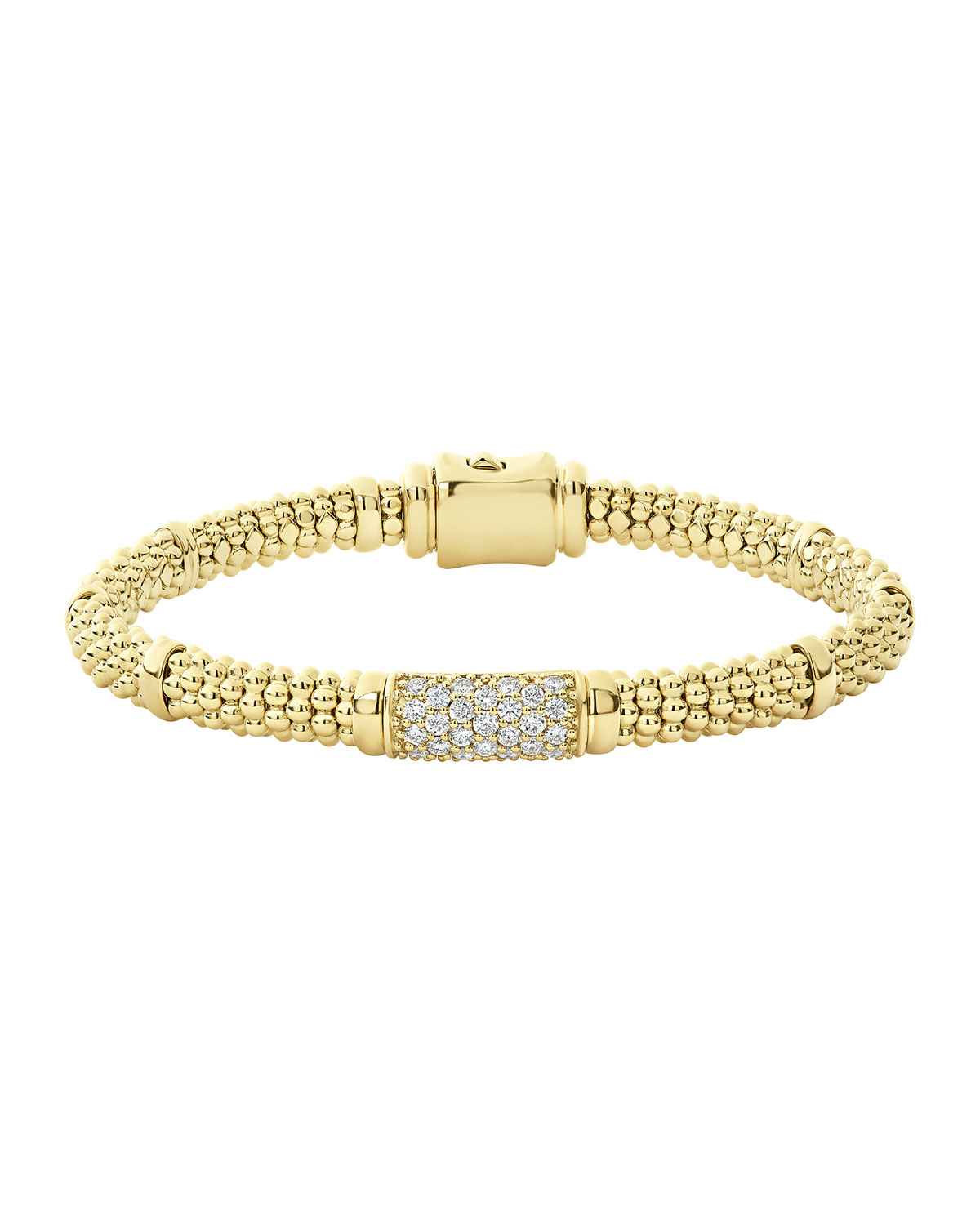 Lagos 18k Caviar Gold 15mm Rope Bracelet w/ Diamonds