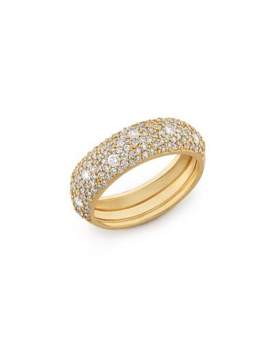 14k Yellow Gold Diamond Curve Ring  Size 7