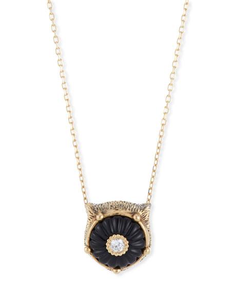 Gucci 18k Gold Le Marche des Merveilles Large Onyx Feline Necklace